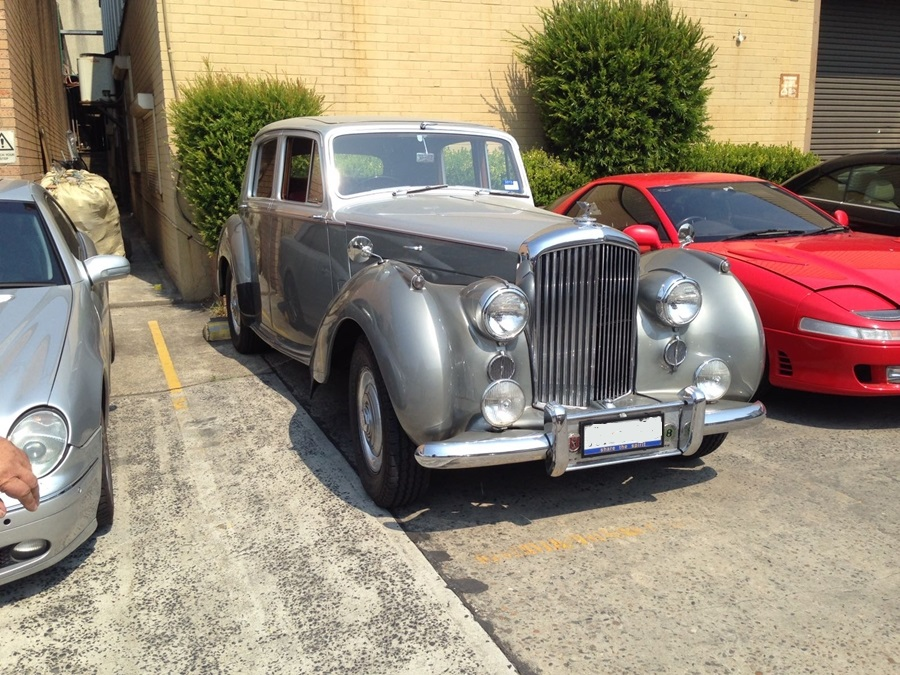 old silver bentley restored by basha
