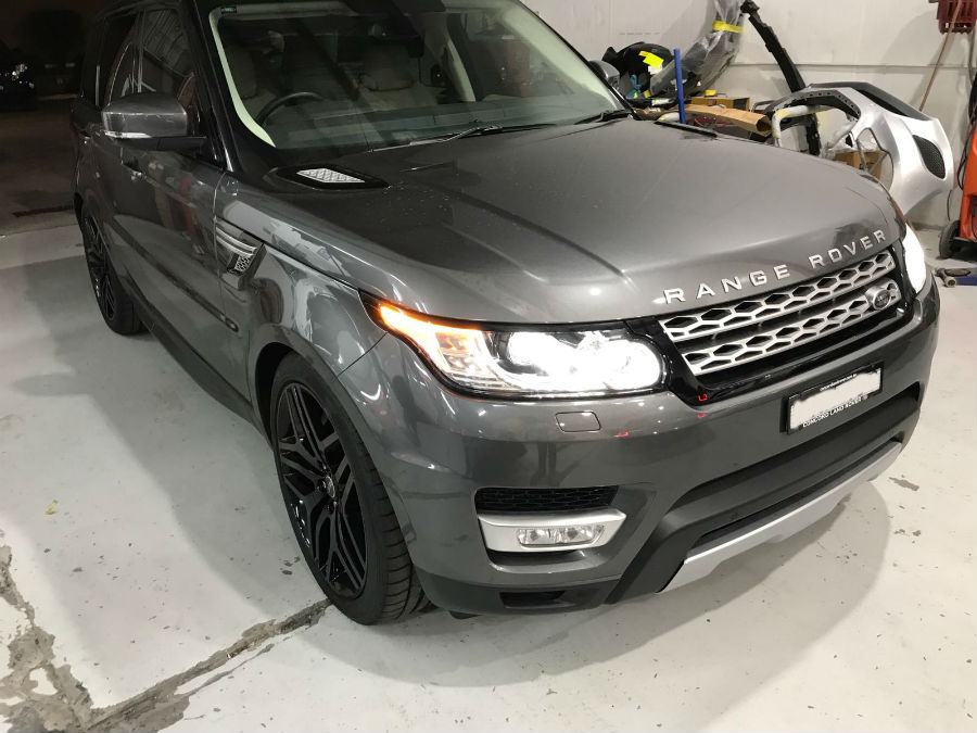 silver grey range rover repaired by basha